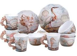 Certified International Coastal Sea life 16-Piece Dinnerware