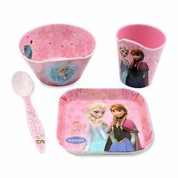 Finex Set of 4 Pink Frozen Meal - Cup Spoon Bowl Plate for K