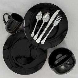 Solid Black Dinnerware Collection  Plates Bowls Mugs Dishes