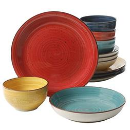 Gibson Home Color Speckle 12 Piece Mix and Match Double Bowl