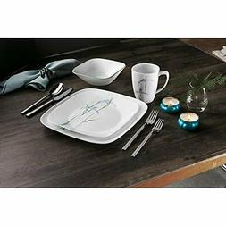 Corelle Square 16Piece Dinnerware Set, Shadow Iris, Service