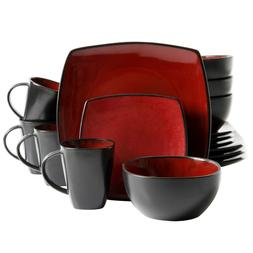 Square Dinnerware Set For 4 Stoneware Kitchen 16 pcs Plates
