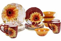Certified International Sunflower 16-piece Ceramic Round Din