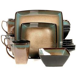 Gibson Tequesta 16pc Square Dinnerware Set- Taupe New Freesh