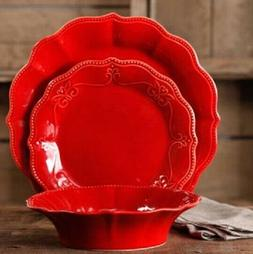 The Pioneer Woman Paige 12-piece Scalloped Red Dinnerware Se