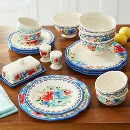 Vintage 20-Piece Colorful Floral Design Dinnerware Set Scall