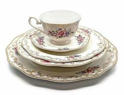 """Royalty Porcelain """"Ruby Rose"""" 5-Piece White & Gold Floral Di"""